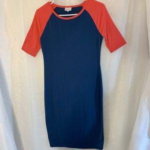 LulaRoe  Navy & Orange Baseball Tee- Daisy Dress